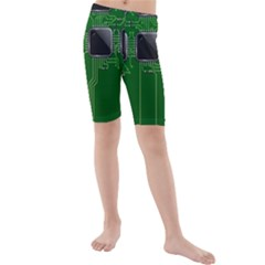 Green Circuit Board Pattern Kids  Mid Length Swim Shorts