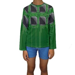 Green Circuit Board Pattern Kids  Long Sleeve Swimwear