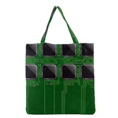 Green Circuit Board Pattern Grocery Tote Bag