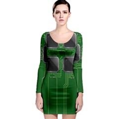 Green Circuit Board Pattern Long Sleeve Bodycon Dress