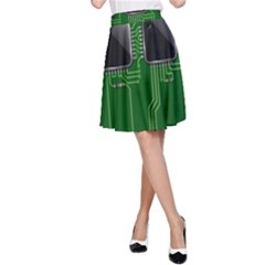 Green Circuit Board Pattern A-Line Skirt