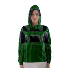 Green Circuit Board Pattern Hooded Wind Breaker (Women)