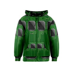 Green Circuit Board Pattern Kids  Zipper Hoodie