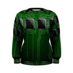Green Circuit Board Pattern Women s Sweatshirt