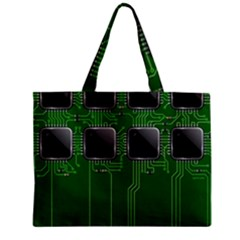 Green Circuit Board Pattern Zipper Mini Tote Bag
