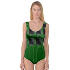 Green Circuit Board Pattern Princess Tank Leotard