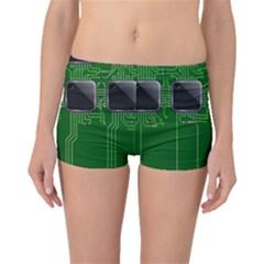 Green Circuit Board Pattern Boyleg Bikini Bottoms