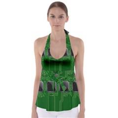 Green Circuit Board Pattern Babydoll Tankini Top