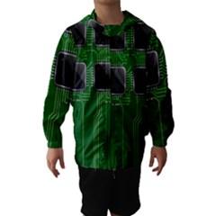 Green Circuit Board Pattern Hooded Wind Breaker (Kids)