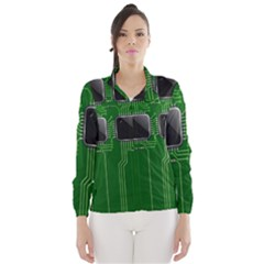 Green Circuit Board Pattern Wind Breaker (Women)