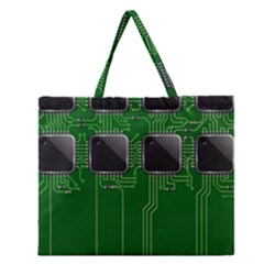 Green Circuit Board Pattern Zipper Large Tote Bag