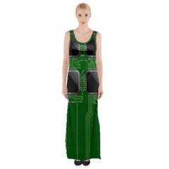 Green Circuit Board Pattern Maxi Thigh Split Dress