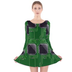 Green Circuit Board Pattern Long Sleeve Velvet Skater Dress