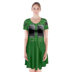 Green Circuit Board Pattern Short Sleeve V-neck Flare Dress