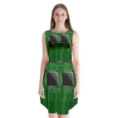 Green Circuit Board Pattern Sleeveless Chiffon Dress