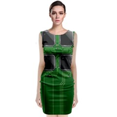 Green Circuit Board Pattern Sleeveless Velvet Midi Dress