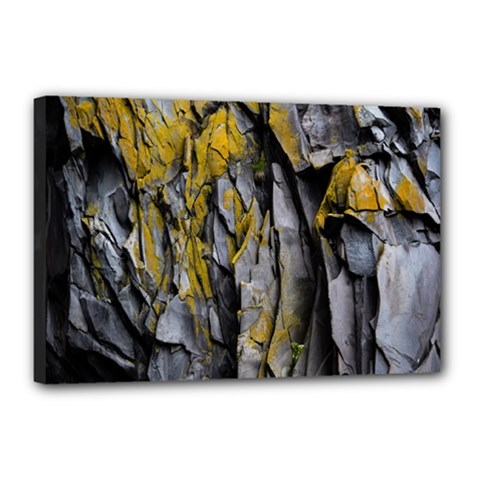 Grey Yellow Stone Canvas 18  x 12