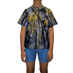 Grey Yellow Stone Kids  Short Sleeve Swimwear