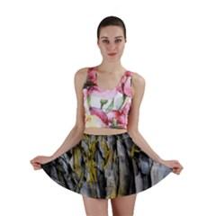 Grey Yellow Stone Mini Skirt
