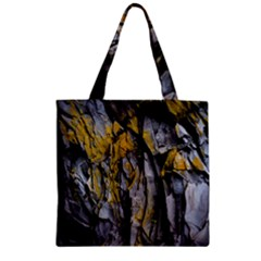 Grey Yellow Stone Zipper Grocery Tote Bag