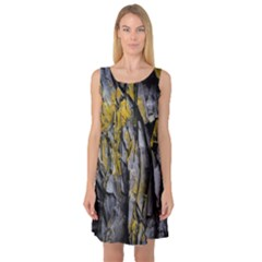 Grey Yellow Stone Sleeveless Satin Nightdress