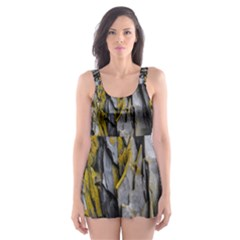 Grey Yellow Stone Skater Dress Swimsuit