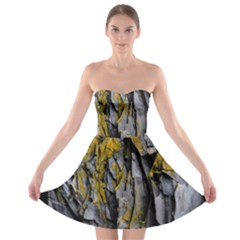 Grey Yellow Stone Strapless Bra Top Dress