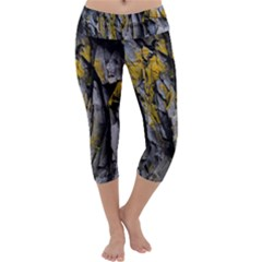 Grey Yellow Stone Capri Yoga Leggings