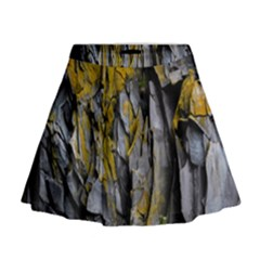 Grey Yellow Stone Mini Flare Skirt