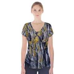 Grey Yellow Stone Short Sleeve Front Detail Top