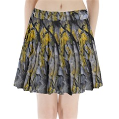 Grey Yellow Stone Pleated Mini Skirt