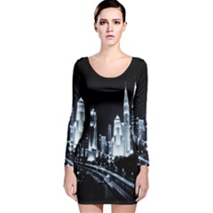 Kuala Lumpur Urban Night Building Long Sleeve Velvet Bodycon Dress