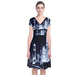 Kuala Lumpur Urban Night Building Short Sleeve Front Wrap Dress