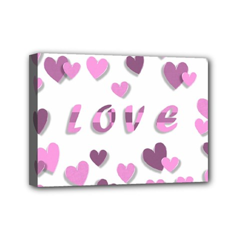 Love Valentine S Day 3d Fabric Mini Canvas 7  x 5