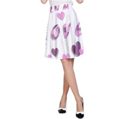 Love Valentine S Day 3d Fabric A-Line Skirt