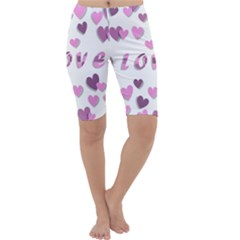 Love Valentine S Day 3d Fabric Cropped Leggings