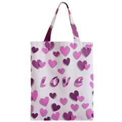 Love Valentine S Day 3d Fabric Zipper Classic Tote Bag