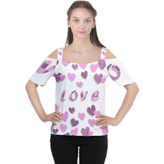 Love Valentine S Day 3d Fabric Women s Cutout Shoulder Tee