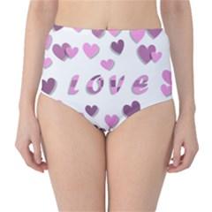 Love Valentine S Day 3d Fabric High-Waist Bikini Bottoms