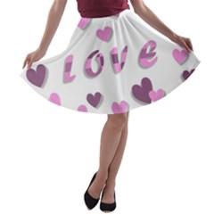 Love Valentine S Day 3d Fabric A-line Skater Skirt