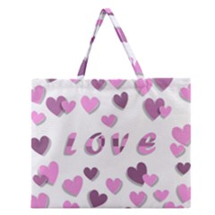 Love Valentine S Day 3d Fabric Zipper Large Tote Bag