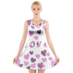 Love Valentine S Day 3d Fabric V Neck Sleeveless Skater Dress