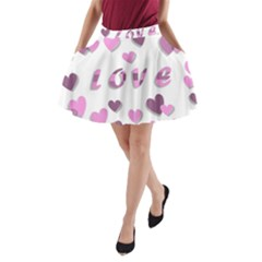 Love Valentine S Day 3d Fabric A-Line Pocket Skirt