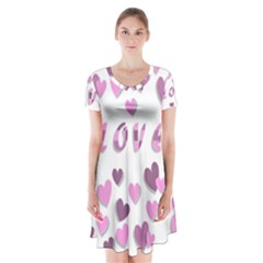 Love Valentine S Day 3d Fabric Short Sleeve V-neck Flare Dress
