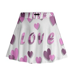 Love Valentine S Day 3d Fabric Mini Flare Skirt