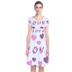 Love Valentine S Day 3d Fabric Short Sleeve Front Wrap Dress