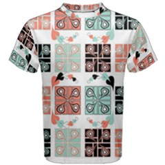 Mint Black Coral Heart Paisley Men s Cotton Tee