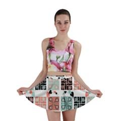 Mint Black Coral Heart Paisley Mini Skirt