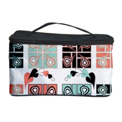Mint Black Coral Heart Paisley Cosmetic Storage Case