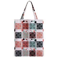 Mint Black Coral Heart Paisley Zipper Classic Tote Bag